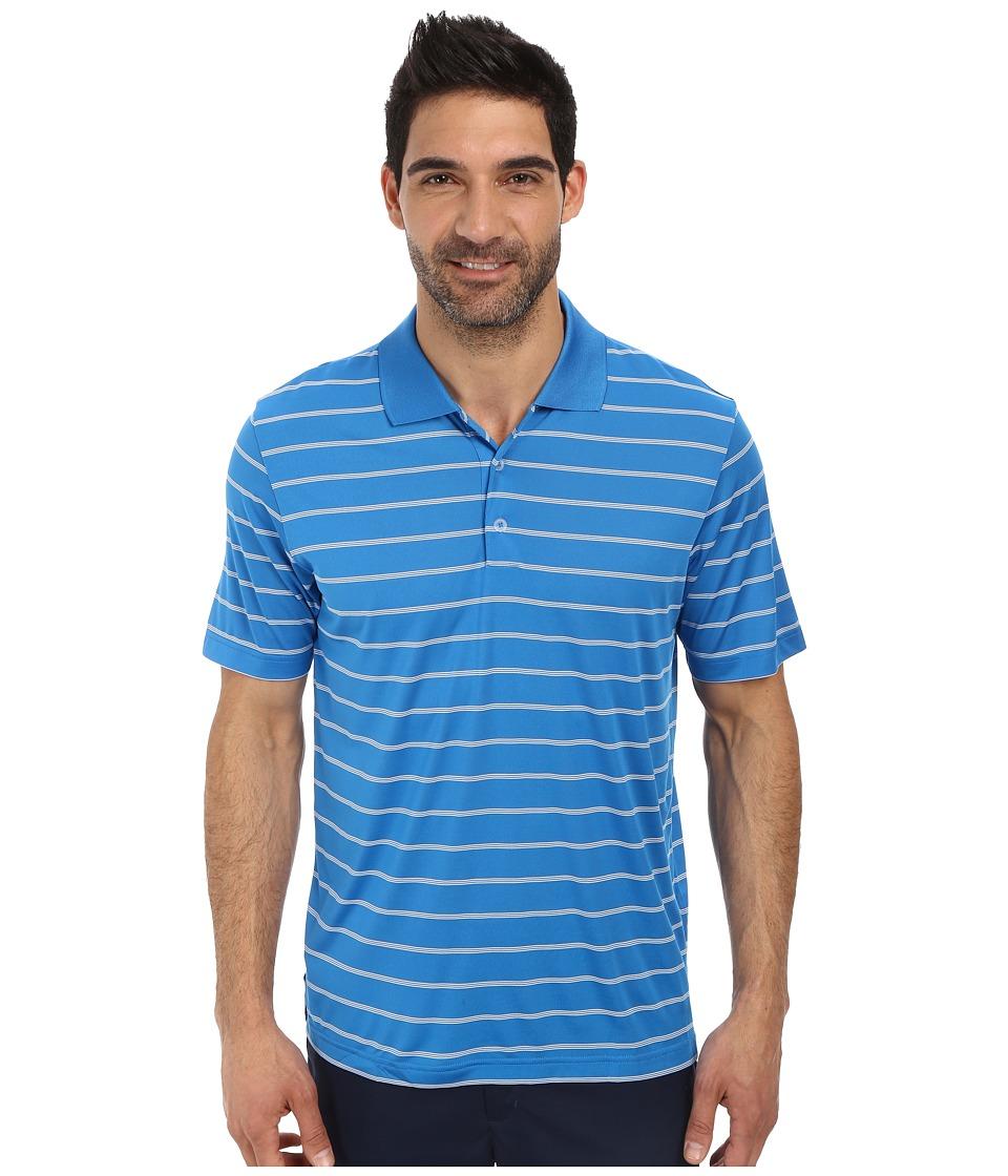 adidas Golf - Puremotion 2-Color Stripe Jersey Polo '15 (Bahia Blue/White) Men's Short Sleeve Knit