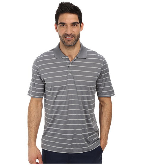 adidas Golf - Puremotion 2-Color Stripe Jersey Polo '15 (Vista Grey/White) Men's Short Sleeve Knit