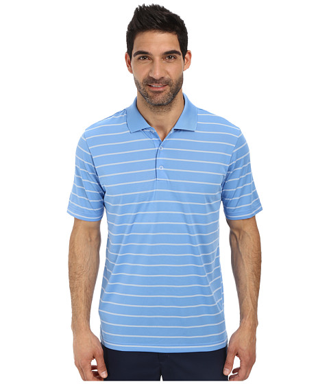adidas Golf - Puremotion 2-Color Stripe Jersey Polo '15 (Lucky Blue/White) Men's Short Sleeve Knit