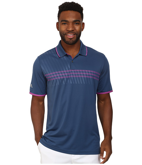 adidas Golf - CLIMACHILL 3 Stripe Deboss Polo (Night Marine/Lucky Pink/Lucky Pink) Men's Short Sleeve Knit