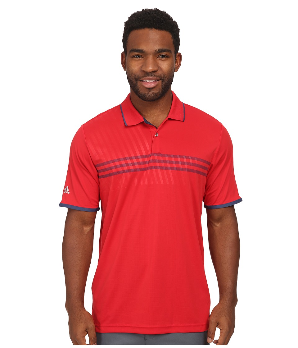 adidas Golf - CLIMACHILL 3 Stripe Deboss Polo (Bold Red/Night Marine/Night Marine) Men's Short Sleeve Knit