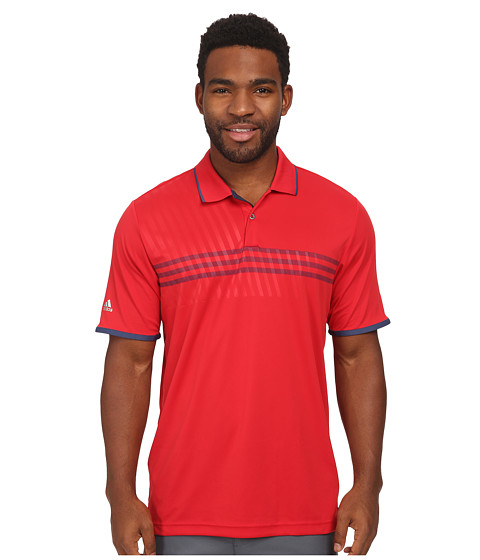adidas Golf - CLIMACHILL 3 Stripe Deboss Polo (Bold Red/Night Marine/Night Marine) Men