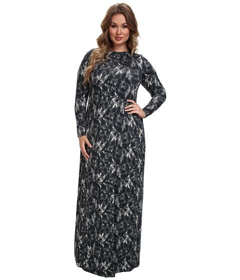 Rachel Pally Plus - Plus Size Stormy Dress White Label Print (Onyx Feline) Women's Dress
