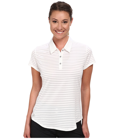 adidas Golf - Climacool Tour Mesh Stripe Short Sleeve Polo '15 (White) Women's Short Sleeve Pullover