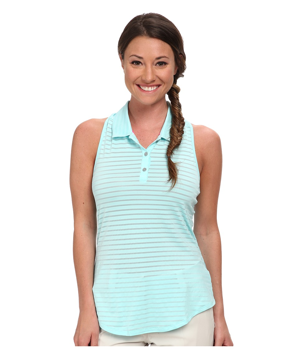 adidas Golf - Climacool Tour Mesh Stripe Sleeveless Polo '15 (Clear Aqua) Women's Sleeveless