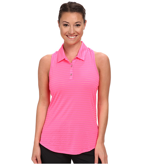 adidas Golf - Climacool Tour Mesh Stripe Sleeveless Polo '15 (Scorch Pink) Women's Sleeveless