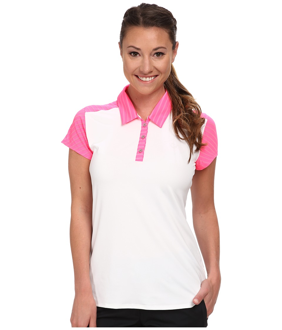 adidas Golf - Tour Stripe Mix Short Sleeve Polo '15 (White/Scorch Pink) Women's Short Sleeve Pullover