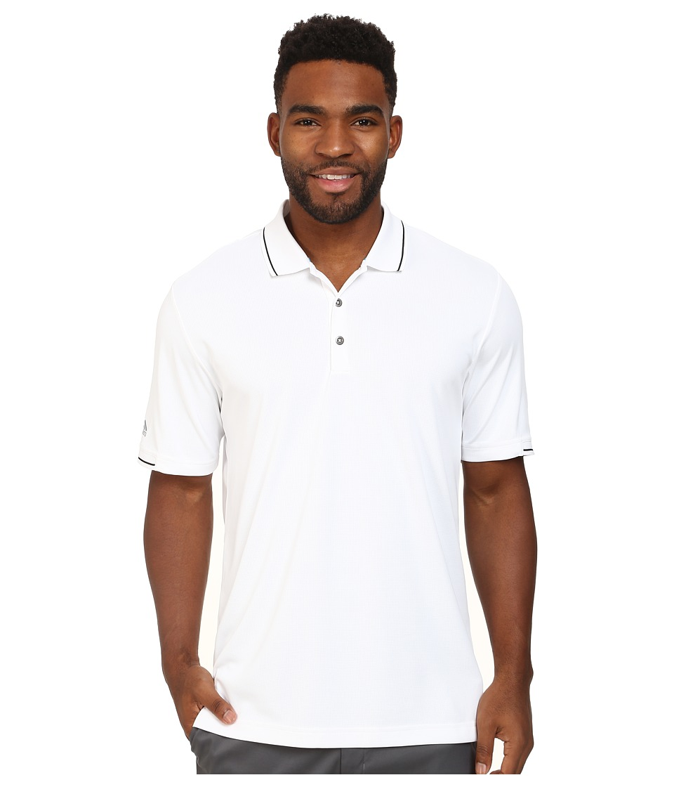 adidas Golf - CLIMACHILL Solid Polo (White/Black) Men's Short Sleeve Knit