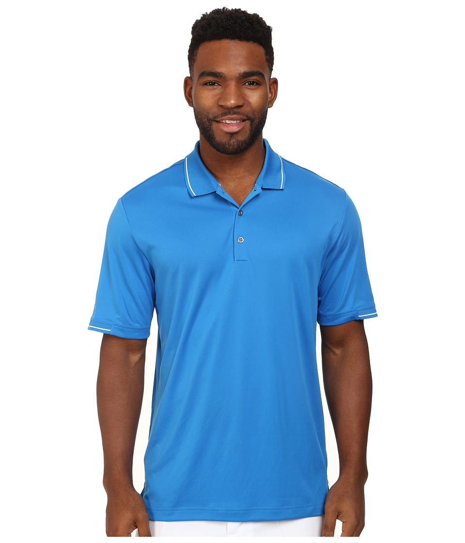 adidas Golf - CLIMACHILL Solid Polo (Bahia Blue/White) Men's Short Sleeve Knit