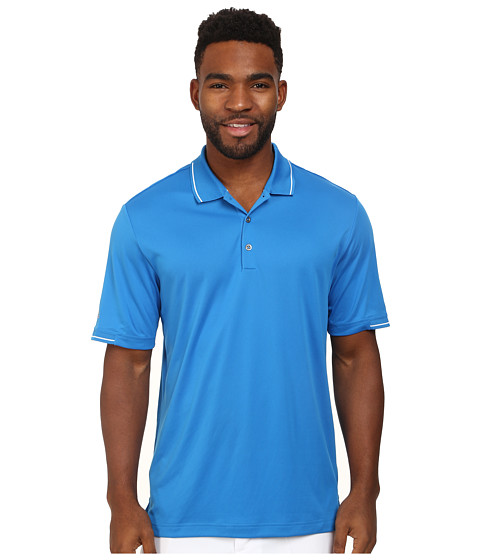 adidas Golf - CLIMACHILL Solid Polo (Bahia Blue/White) Men