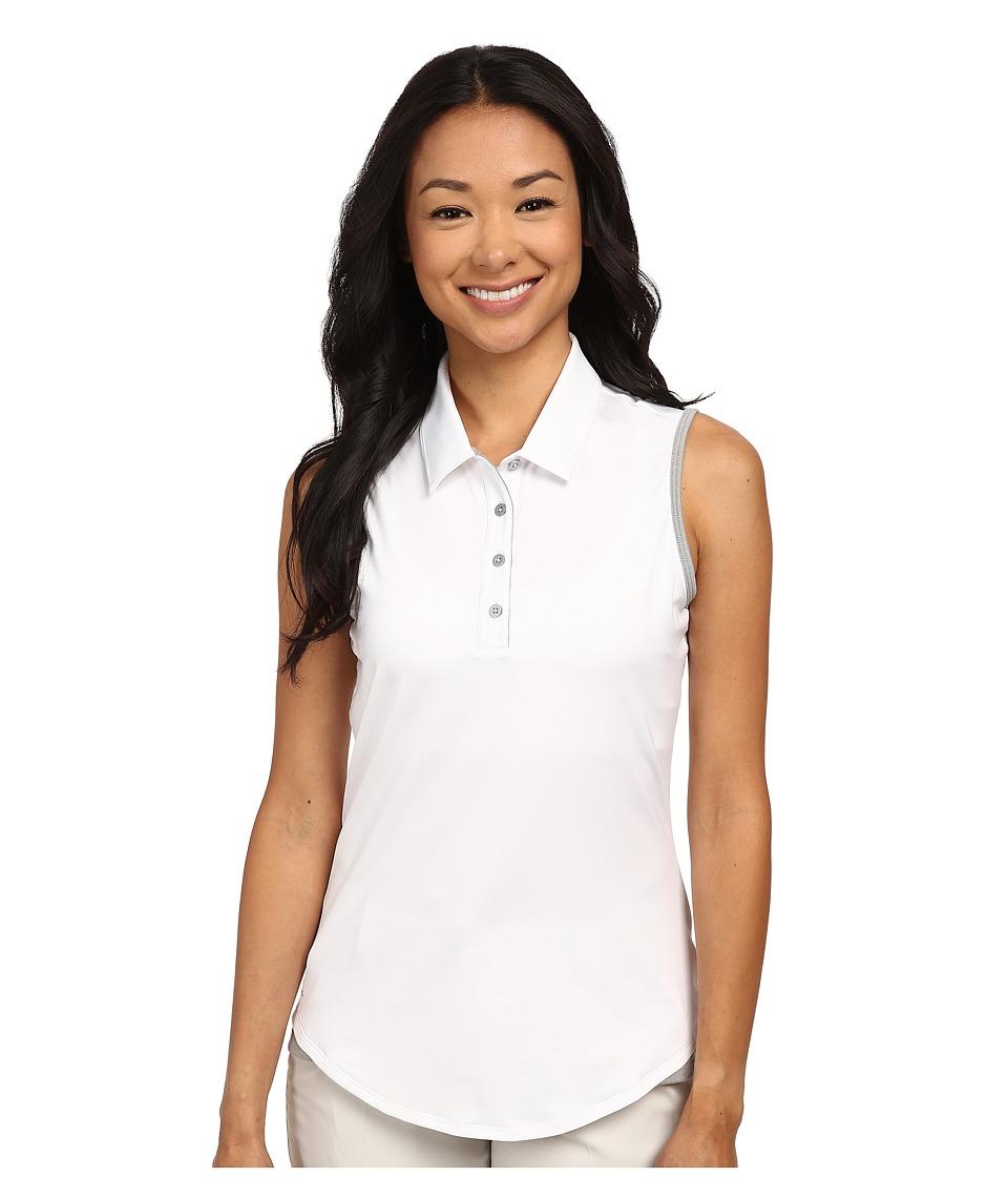 adidas Golf - Climalite Essentials 3-Stripes Sleeveless Polo '16 (White/Medium Grey Heather) Women's Sleeveless
