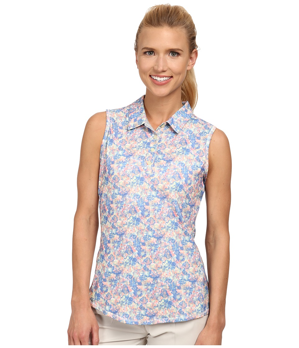 adidas Golf - Climalite Advance All Over Floral Sleeveless Polo '15 (Chambray 2) Women's Blouse