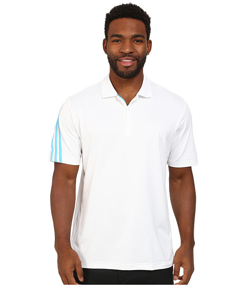 adidas Golf - CLIMACOOL 3 Stripes Polo (White/Intense Teal/Mid Grey) Men's Short Sleeve Knit