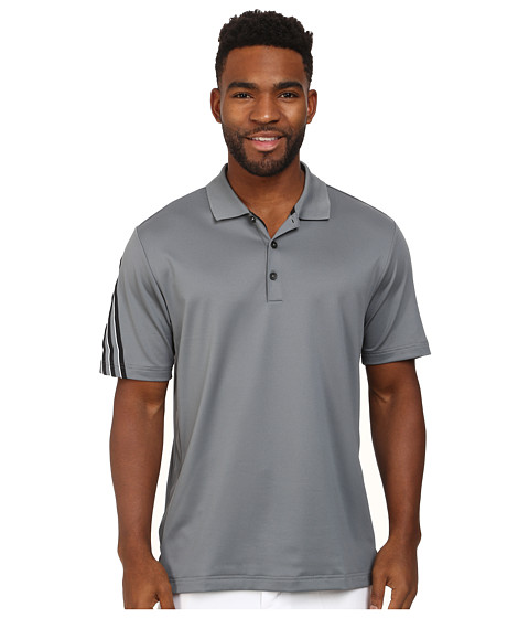 adidas Golf - CLIMACOOL 3 Stripes Polo (Vista Grey/Black/White) Men