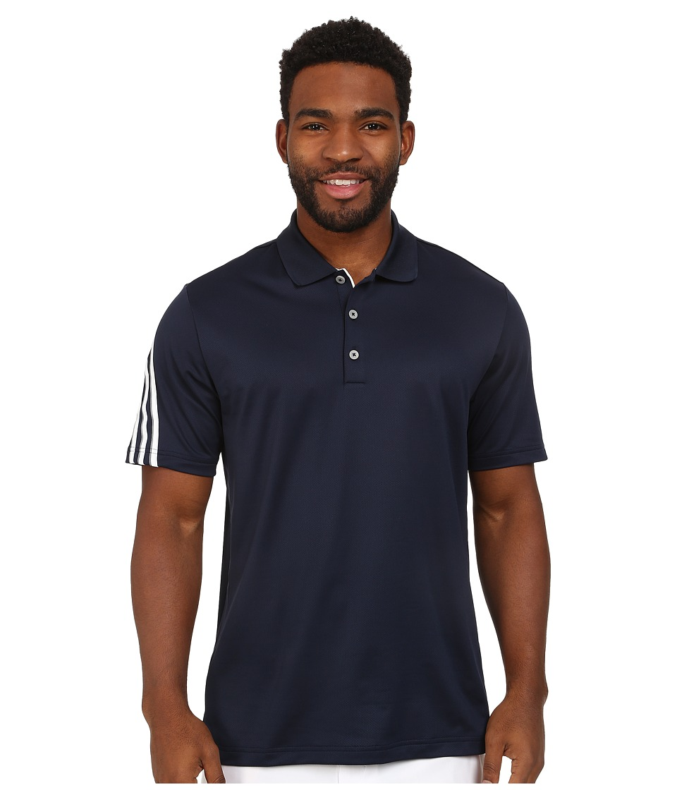 adidas Golf - CLIMACOOL 3 Stripes Polo (Navy/White/Vista Grey) Men's Short Sleeve Knit
