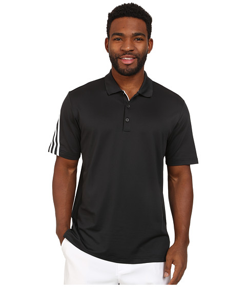 adidas Golf - CLIMACOOL 3 Stripes Polo (Black/White/Vista Grey) Men