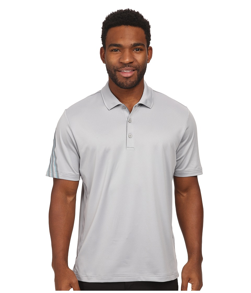 adidas Golf - CLIMACOOL 3 Stripes Polo (Mid Grey/Vista Grey/Intense Teal) Men's Short Sleeve Knit