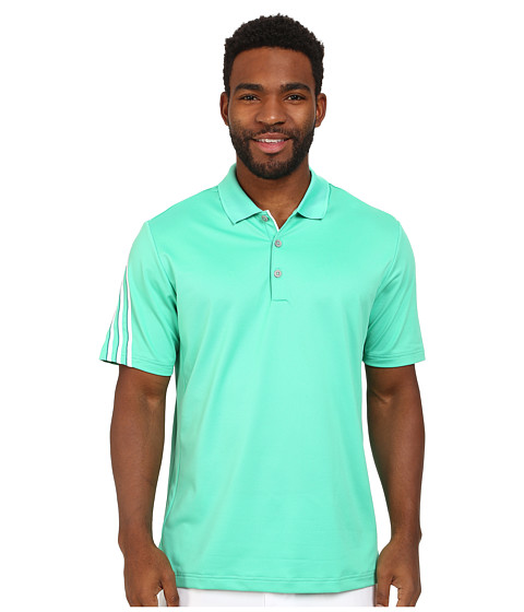 adidas Golf - CLIMACOOL 3 Stripes Polo (Bright Green/White/Power Green) Men