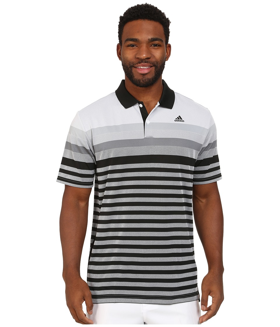 adidas Golf - CLIMACOOL Birdseye Stripe Jacquard Polo (Black/Vista Grey/Mid Grey) Men