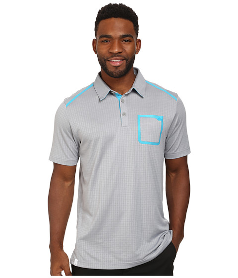 adidas Golf - CLIMACOOL Digital Mesh Polo (Mid Grey/Intense Teal) Men