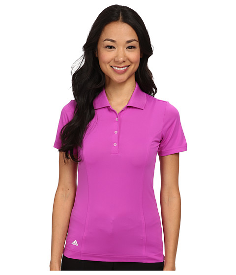 adidas Golf - Climalite Essentials Short Sleeve Solid Polo '15 (Flash Pink/White) Women's Short Sleeve Knit