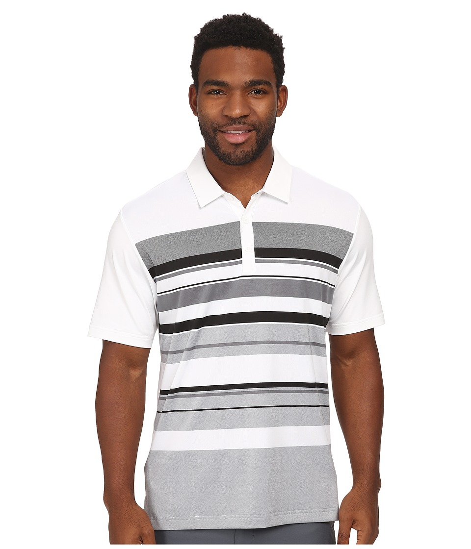 adidas Golf - CLIMACOOL Sport Performance Stripe Polo (White/Black/Vista Grey) Men's Short Sleeve Knit