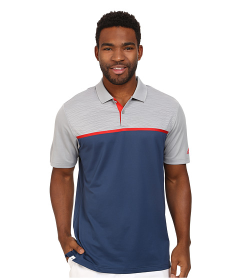 adidas Golf - CLIMACOOL Energy Color Block Polo (Night Marine/Mid Grey/Red) Men