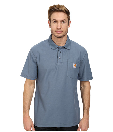 Carhartt - Contractors Work Pocket Polo (Steel Blue) Men's Short Sleeve Pullover