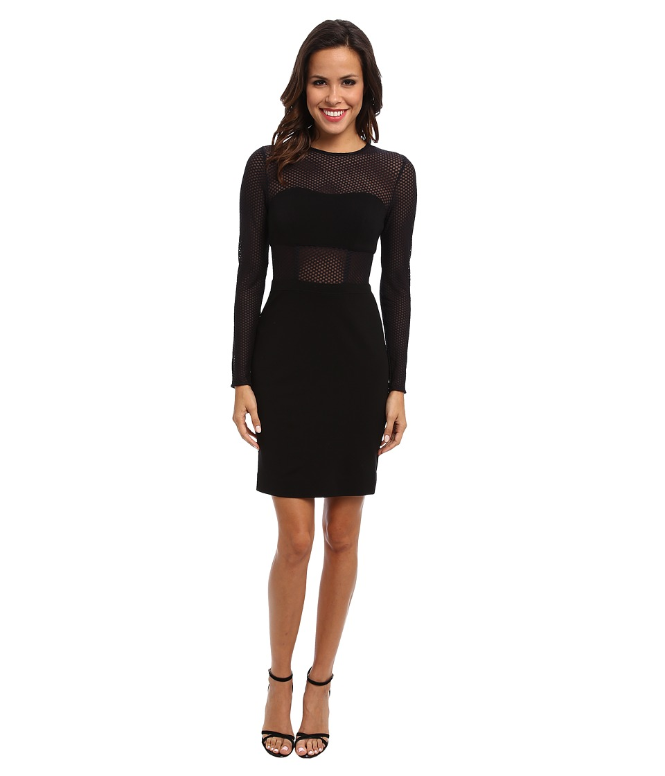 Nicole Miller Bandage Jersey L/S Dress (Black) Women