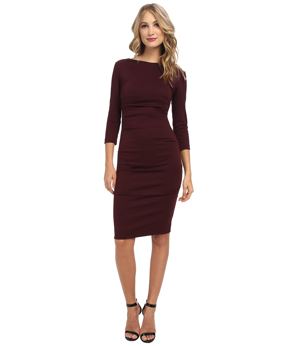 Nicole Miller - Ponte Day Dress (Burgundy) Women's Dress