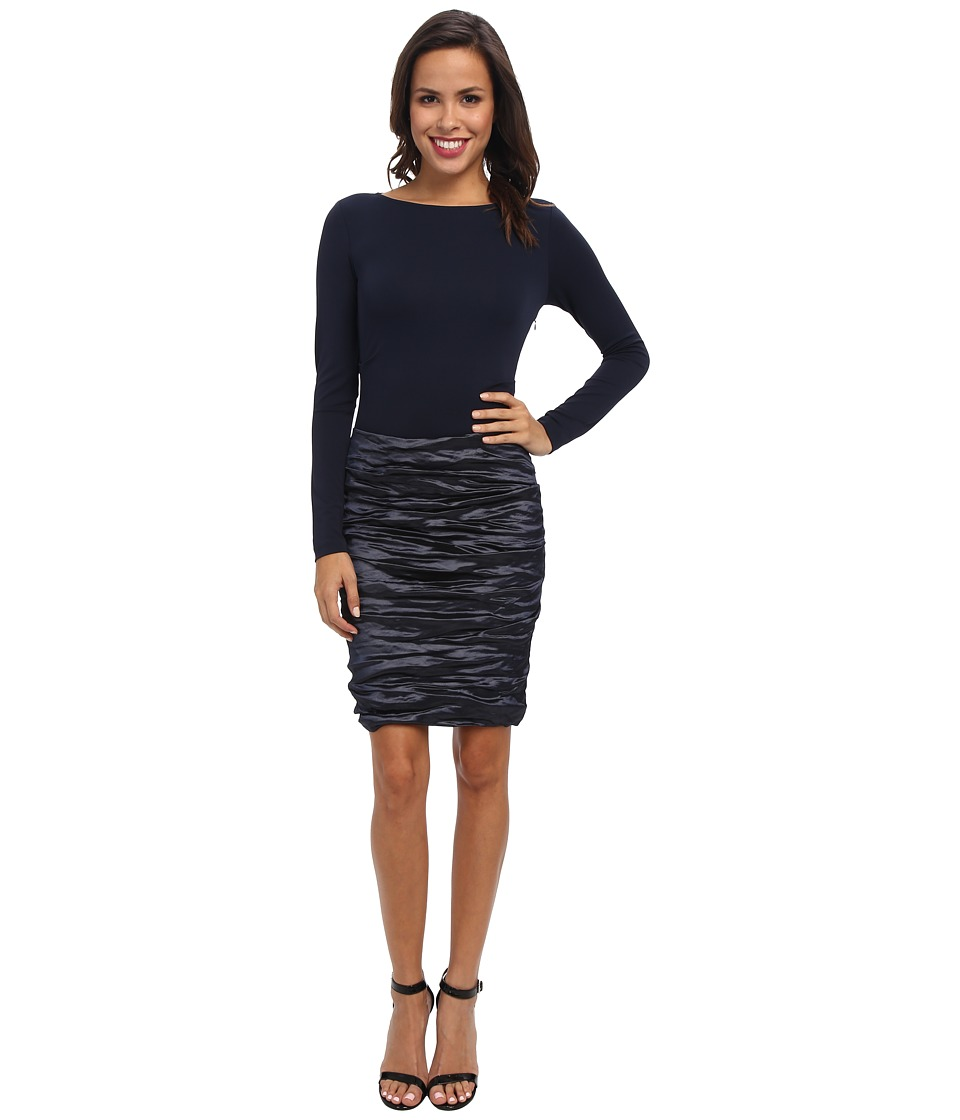 Nicole Miller - Ivy Techno/Soft Jersey Combo Dress (Navy) Women's Dress