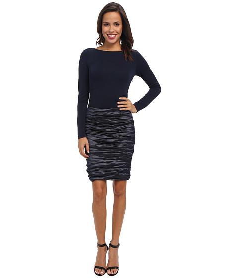 Nicole Miller - Ivy Techno/Soft Jersey Combo Dress (Navy) Women
