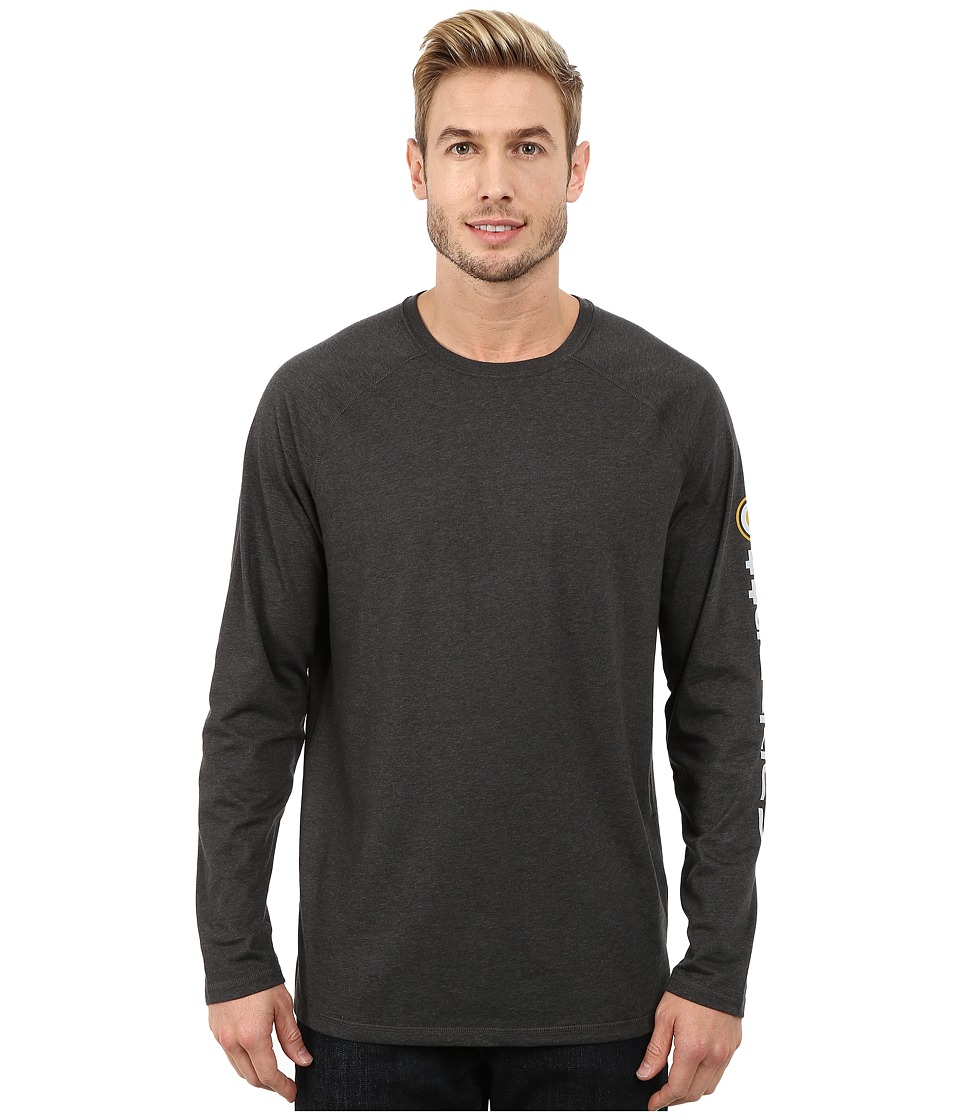 Carhartt - Force Cotton Delmont Sleeve Graphic T-Shirt (Carbon Heather) Men's Long Sleeve Pullover