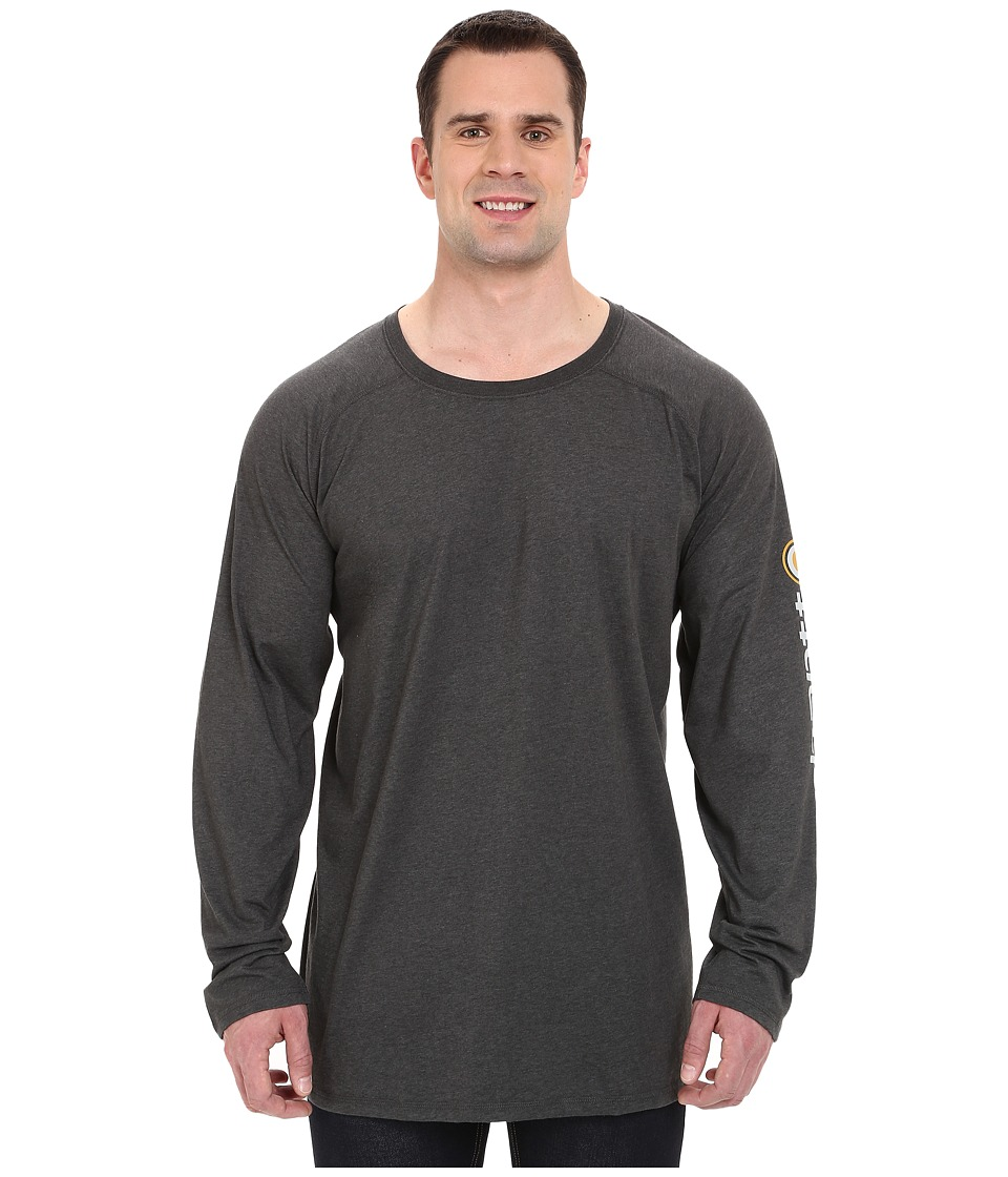 Carhartt - Big Tall Force Cotton Delmont Sleeve Graphic T-Shirt (Carbon Heather) Men's Long Sleeve Pullover