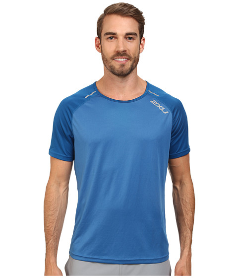 2XU - Tech Short Sleeve Top (Pacific Blue/Coastal Blue) Men's T Shirt