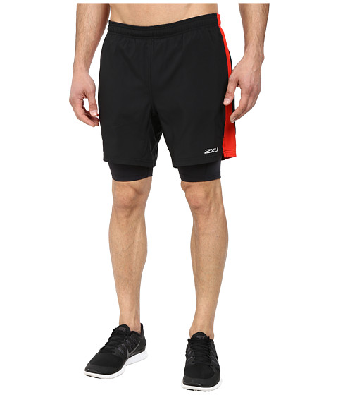 2XU - Pace Compression Short (Black/Scarlet) Men's Shorts