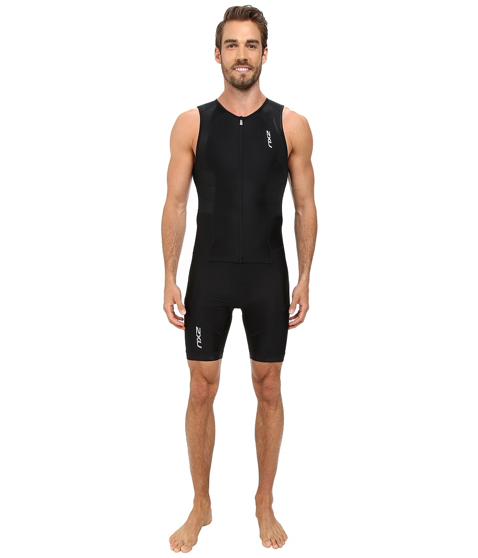 2XU - Full Zip Trisuit (Black/Black) Men's Race Suits One Piece