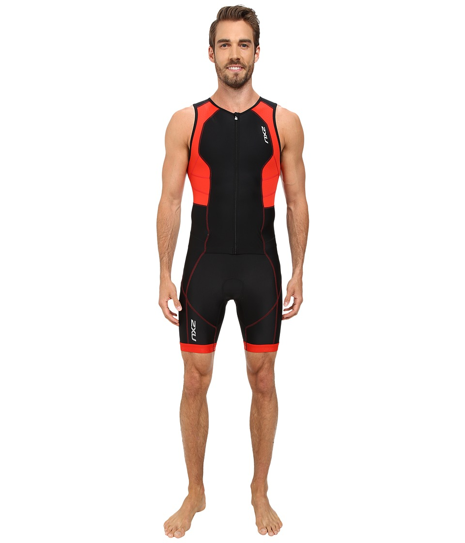 2XU - Full Zip Trisuit (Black/Scarlet) Men