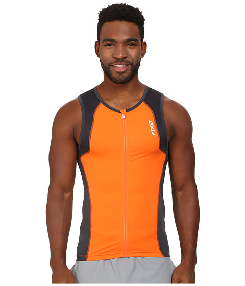 2XU - G:2 Active Tri Singlet (Lotus Orange/Charcoal) Men's Sleeveless