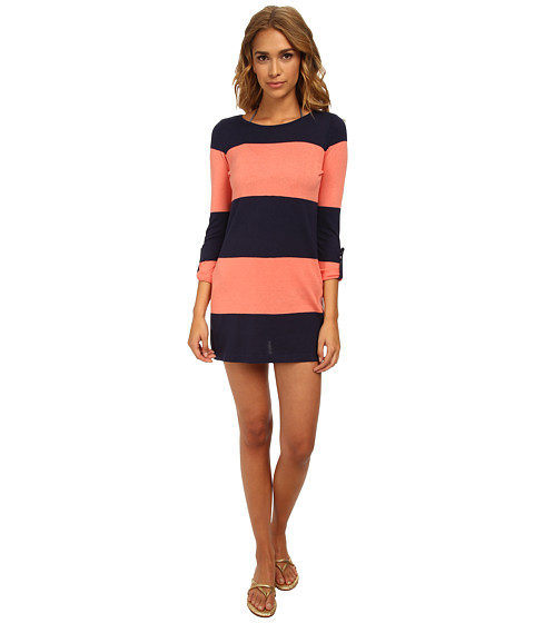 Tommy Bahama - Beach Sweater Bold Stripe w/ Roll Up Sleeve Cover-Up (Mare/Coral) Women's Swimwear
