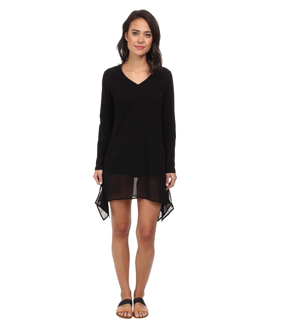 Tommy Bahama - Knit Chiffon Covers L/S High-Low Dress Cover-Up (Black) Women