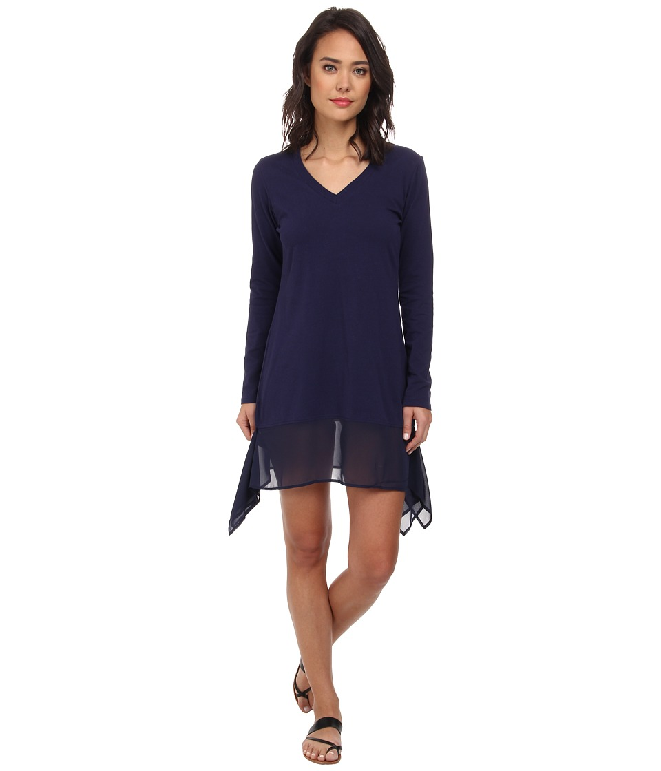 Tommy Bahama - Knit Chiffon Covers L/S High-Low Dress Cover-Up (Mare) Women's Swimwear