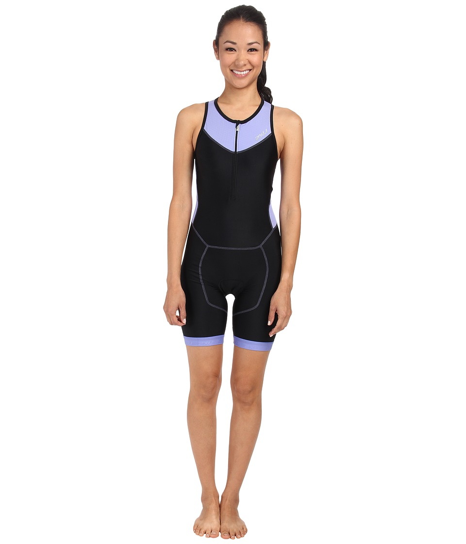 2XU - Perform Trisuit w/ Front Zip (Black/Amethyst) Women's Wetsuits One Piece