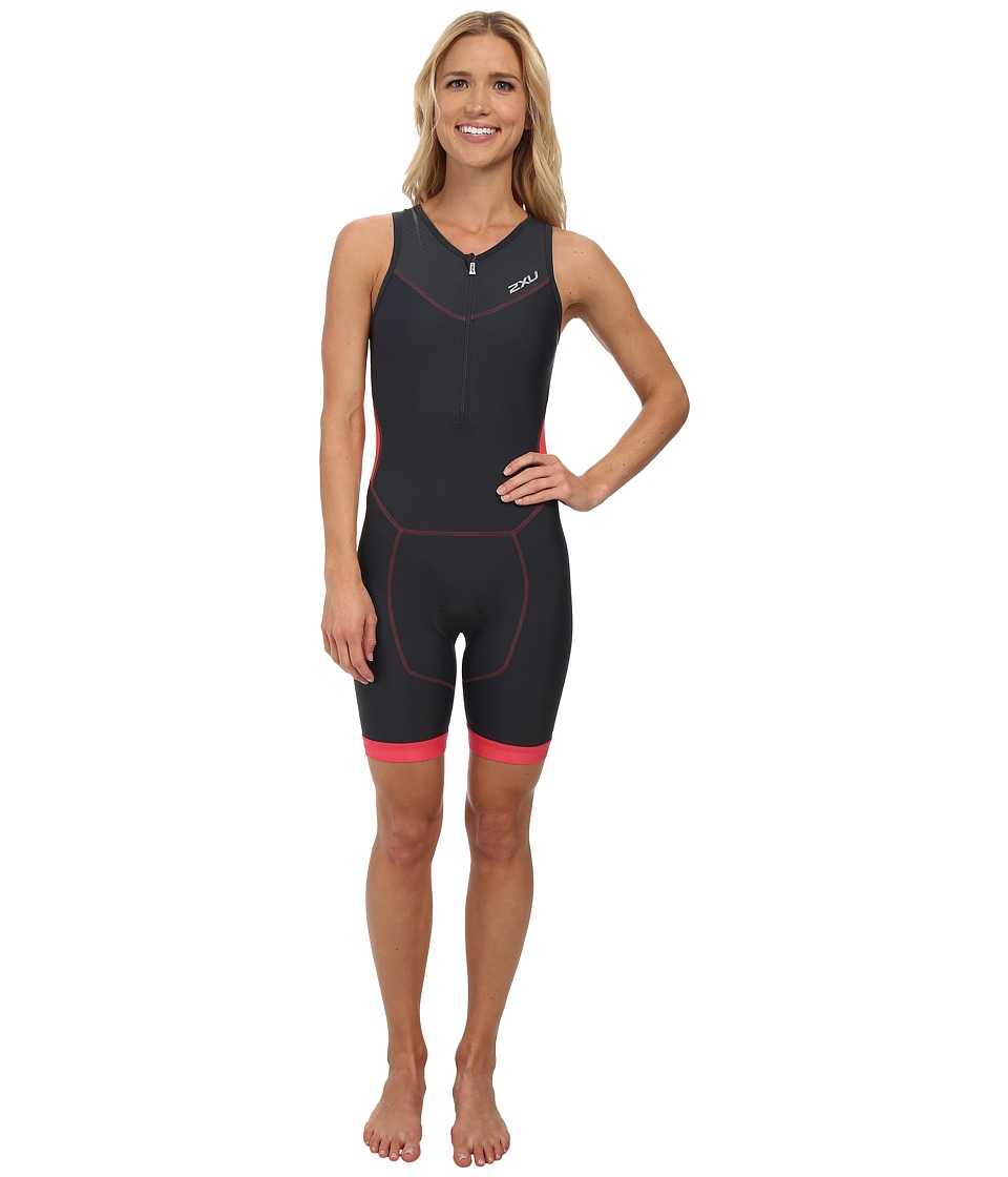 2XU - Perform Trisuit w/ Front Zip (Charcoal/Coral Paradise) Women