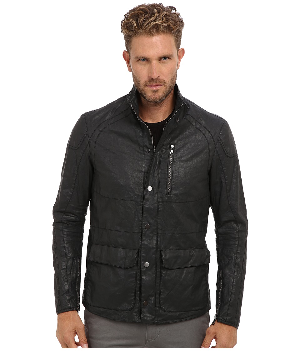John Varvatos Collection - Zip Snap Front Motocross Jacket w/ Multi Seamed Body Sleeve Articulated Elbow Zip Sleeves O1088Q2 (Metal Grey) Men's Jacket