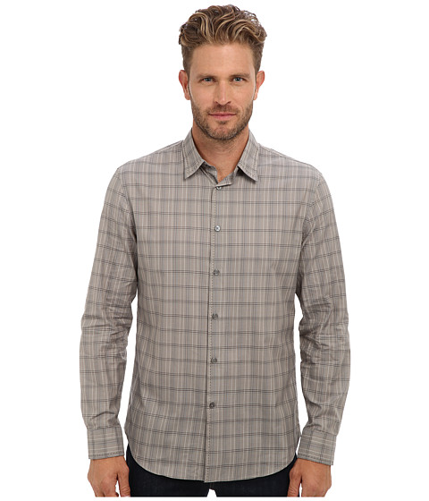 John Varvatos Collection - Classic Fit Shirt w/ Pick Stitch at Collar w/ Cuffs Mother of Pearl Buttons W060Q2 (Rye) Men's Long Sleeve Button Up