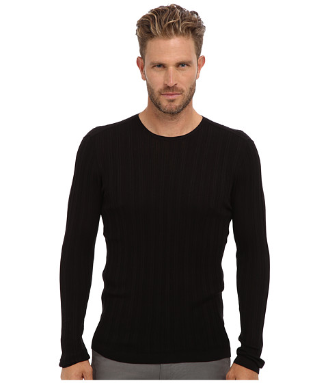 John Varvatos Collection - Long Sleeve Variegated Rib Crewneck Sweater Y1440Q2 (Black) Men