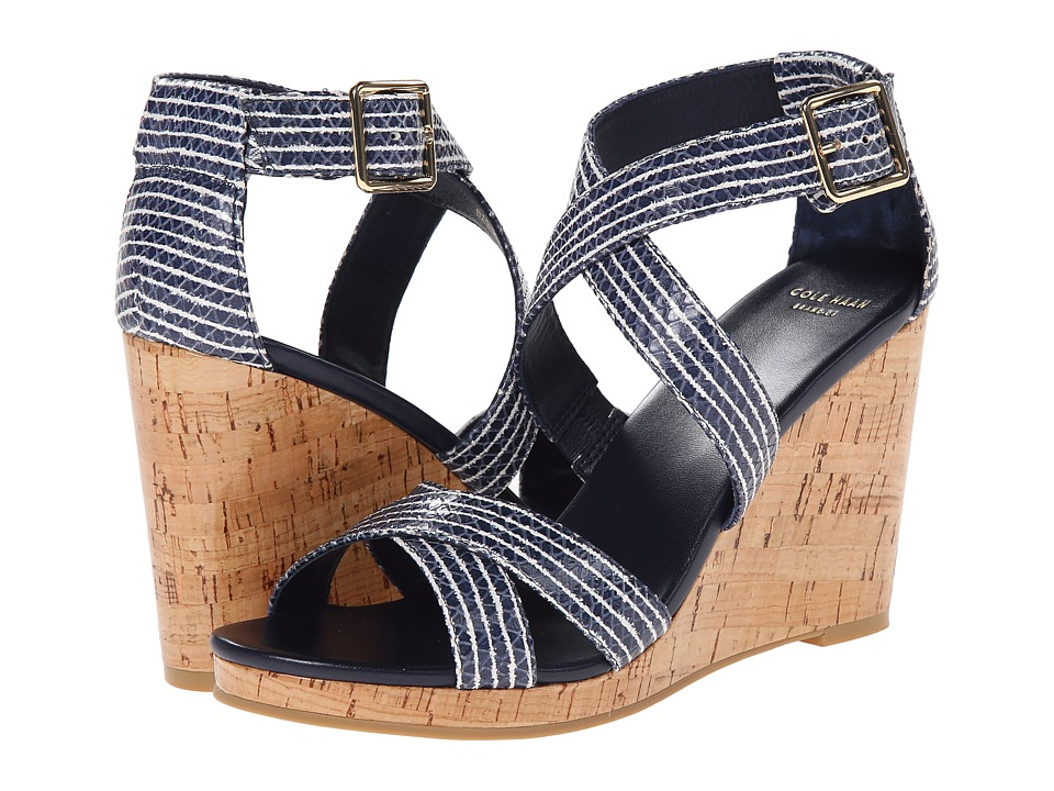 Cole Haan - Jillian Wedge (Blazer Blue/Optic White Stripe Snake Print) Women
