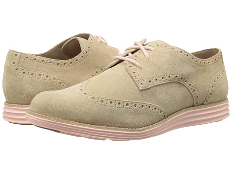 Cole Haan - LunarGrand Wing Tip (Cremini Suede/Seashell Pink) Women's Lace Up Wing Tip Shoes