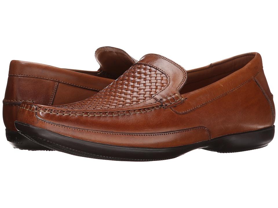 Clarks - Finer Weave (Tan Leather) Men's Slip-on Dress Shoes